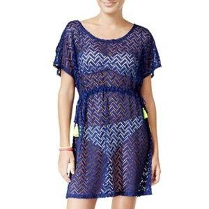 NWT Miken Crochet Swim Cover-Up Dress, Blue, S